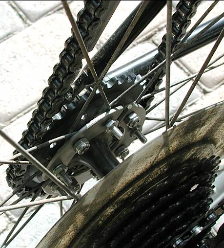 chain sprocket bolts onto spokes